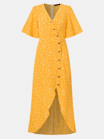 Floral Print Button Slit Dress