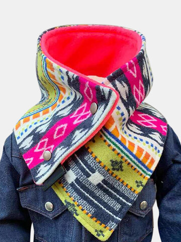 Women Thick Printed Scarf Adjustable Neck Wrap Warm Scarf