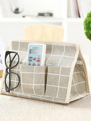 Cotton Linen Tissue Box Remote Control Storage Bag
