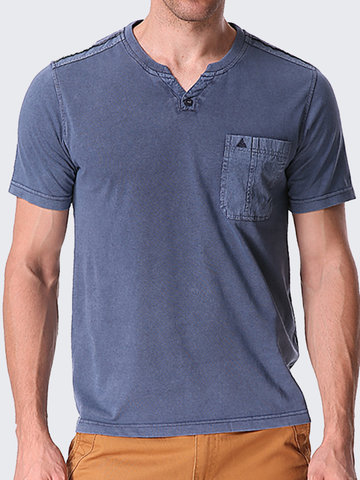 Mens Solid Color V-neck Short Sleeve Casual T-shirt