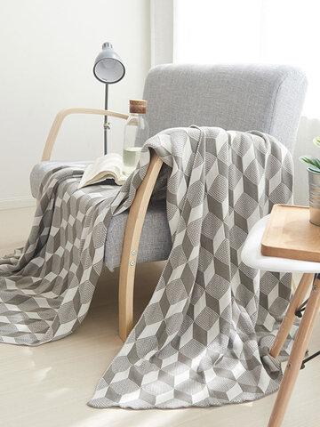 Cotton Knitted Geometric Pattern Throw Blanket Kids Autumn Spring Soft Sleeping Blanket Sofa Cover Blanket Office Blanket