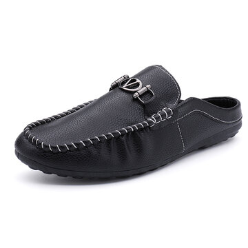 Men Microfiber Leather Slip On Metal Decoration Backless Casual Slippers