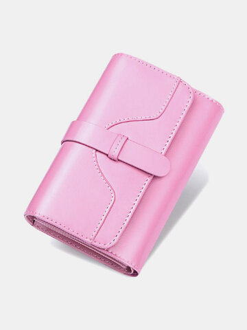 Genuine Leather Trifold Multi-card Slots Photo Card Money Clip Coin Purse Multifunctional Wallet