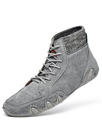 Bottines chaussettes en cuir respirant pour hommes