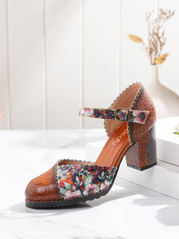 SOCOFY Splicing Floral Printed Cowhide Leather Mary Jane Pumps