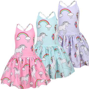 Unicorn Woven Pleated  Dresses For 3-11Y
