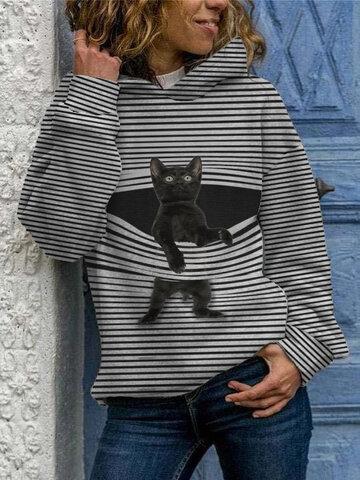 Black Cat Print Striped Hoodies