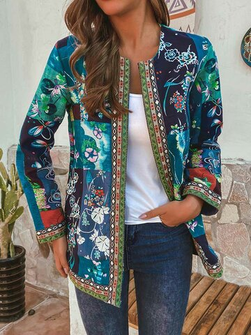 Vintage Ethnic Style Floral Print Jackets