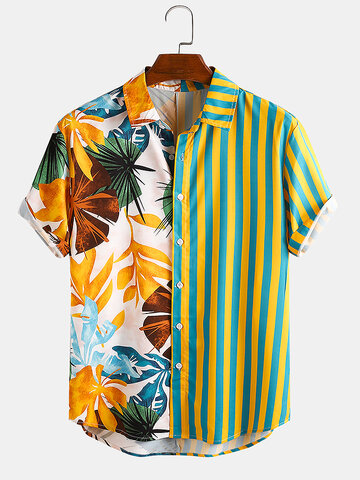Männer Pflanze & Blatt gestreift Patchwork Casual Holiday Curved Hem Shirt