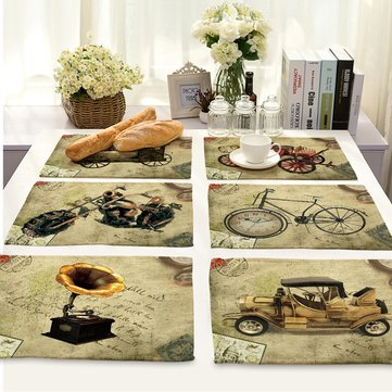 Vintage 3D Pattern Linen Placemat Tablemat Cutlery Tableware Mat Pad Dishes Drying Mat Table Decor