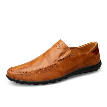 Hommes Chaussures Décontractées De Grande Taille En Cuir Mocassins Comfortables À Enfiler Pour Business