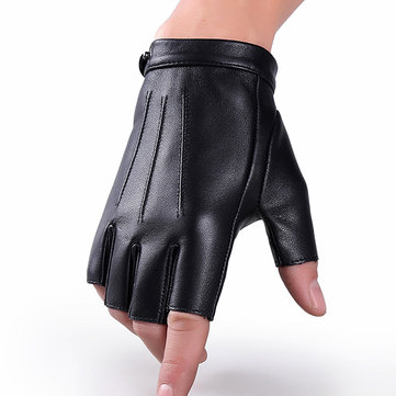 Men Sheepskin Thin Breathable Half-finger Gloves