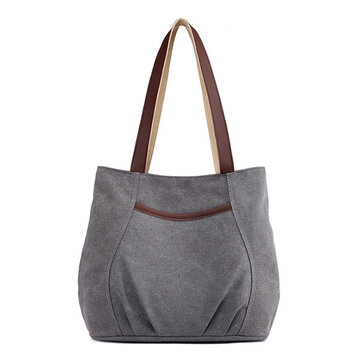 Women Canvas Solid Tote Bags Leisure Shoulder Bags