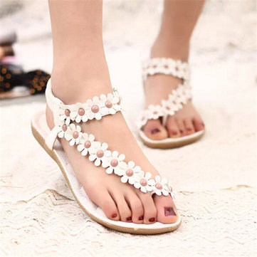 Flowers Strappy Clip Toe Flat Sandals