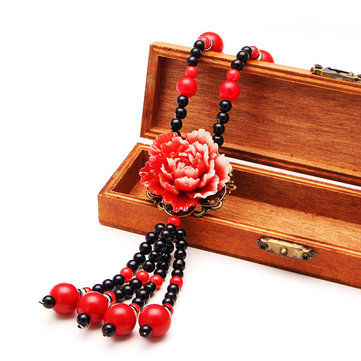 Ethnic Flower Beads Necklace