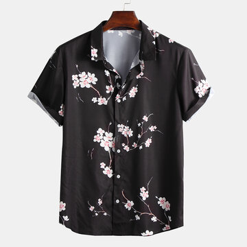 Camisas impressas Wintersweet do estilo chinês dos homens