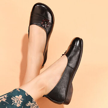 Leather Flowers Slip On Loafers Shoes