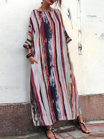 Bohemian Muti Color Baggy Maxi Dress