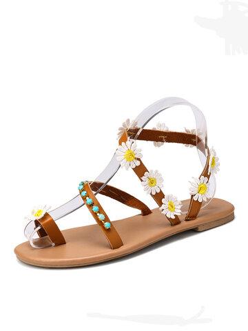 Балетки с кольцом на носке с цветочным декором Сандалии