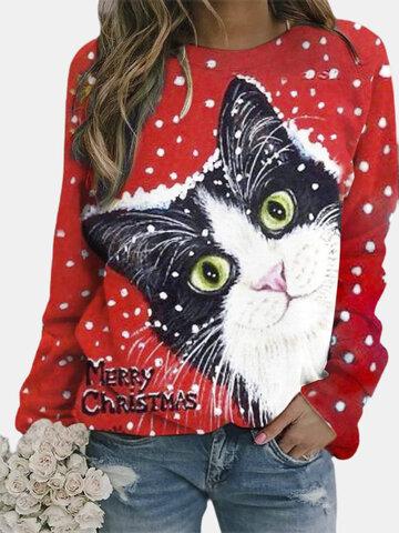 Navidad Gato Blusa Estampada
