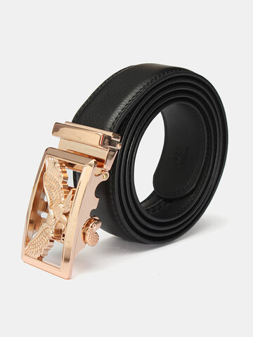 Men's Leather Eagle Pattern Alloy Gold Automatic Buckle Dress Waist Strap Belt