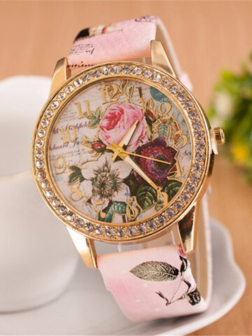 Flower Leather Women Watches