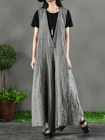 Sleeveless Plaid Bib Cargo Jumpsuit