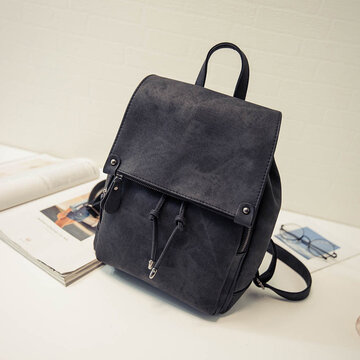 Simple Pure Color Faux Leather Backpack Shouder Bag For Wome