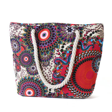Women Canvas Handbag Print Large Capacity Shoulder Bag