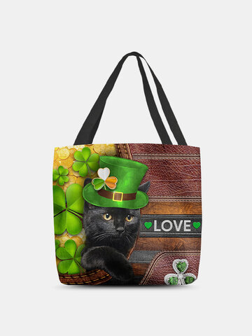 Polyester Cat Clover Tote