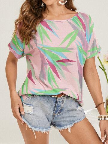 T-shirt ampia con stampa geometrica o collo
