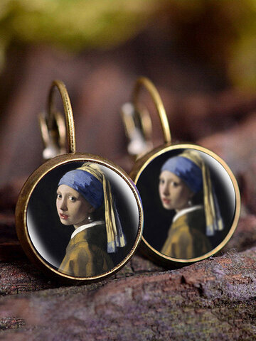 Famous Printing Glass Earrings