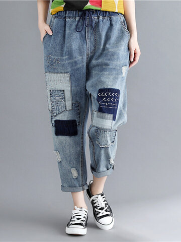 Patchwork Drawstring Ripped Jeans фото