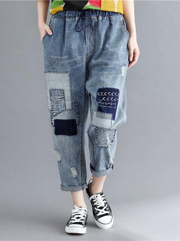 Плетеный Drawstring Ripped Jeans