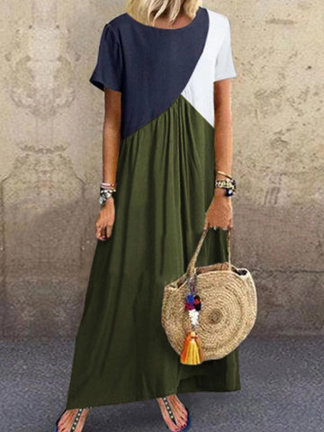 Solid Color Patchwork Maxi Dress