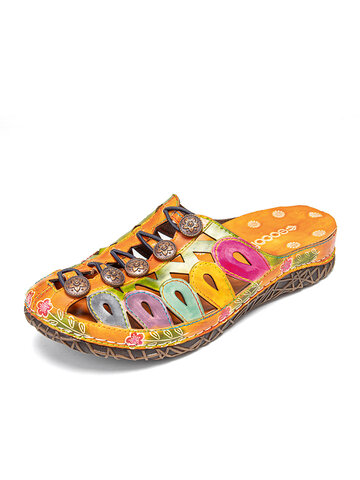 SOCOFY Retro Elastic Button Decor Colorful Hollow Out Closed Toe Mules Sandals