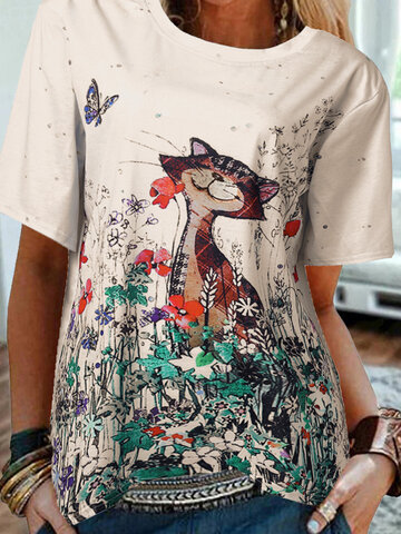 Cartoon Cat Flowers T-shirt