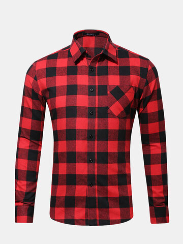 Chest Pocket Checked Shirts фото