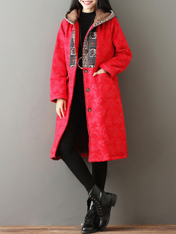 Vintage Print Hooded Long Coat