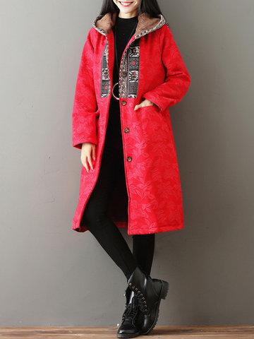 Manteau long à capuche imprimé vintage