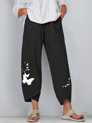 Butterflies Print Pants