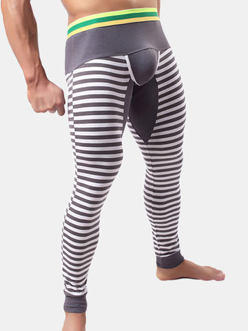 Patchwork Striped Thermal Inner Long Johns