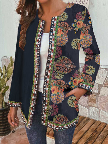 Ethnic Style Floral Print Patchwork Jackets