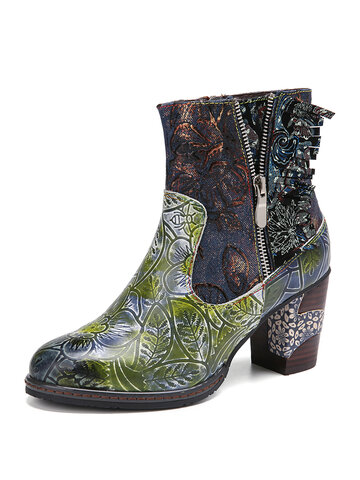 Retro Embroidery Floral Printed Leather Splicing Short Boots