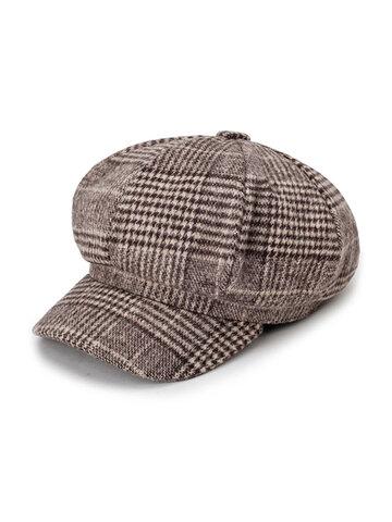 Stripe Octagonal Cap Beret Cap