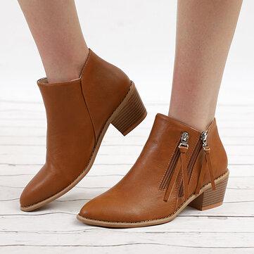 Spitzschuh Chunky Heel Zipper Boots