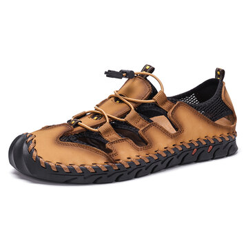 Menico Men Hand Stitching Casual Leather Sandals