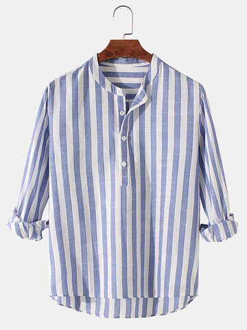 Basic Striped Cotton Henley Shirts