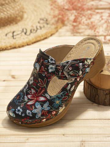 SOCOFY Retro Floral Printed Side Cut-out Slip On Wood Mules Clogs