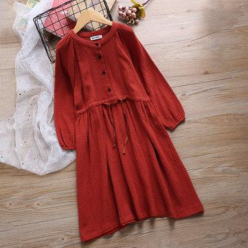 Pure Color Botões Meninas Vestidos 4Y-16Y